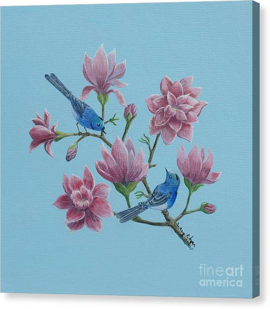 Black Naped Blue Flycatchers In Magnolias Canvas Print