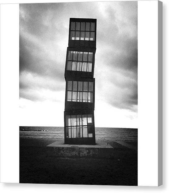 Barcelona Canvas Print - Black Or White All Or by Leyre Perez