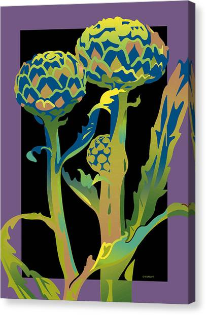 Black-purple Artichoke Canvas Print