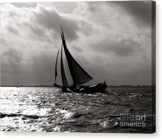 Black Sail Sunset Canvas Print