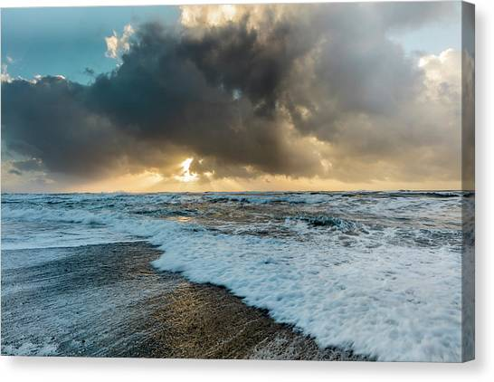 Black Sand Canvas Print - Black Sand Beach Near Vik, Iceland by Chuck Haney