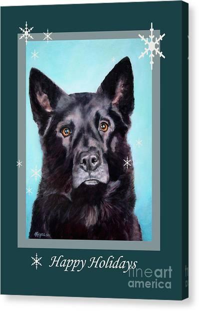 Black Shepard Mix Portrait Holiday Canvas Print