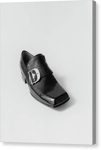 Black Shoe Canvas Print by Leonard Nones