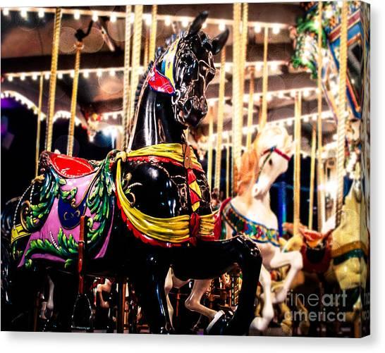 Black Stallion Canvas Print - Black Stallion On The Carousel by Sonja Quintero