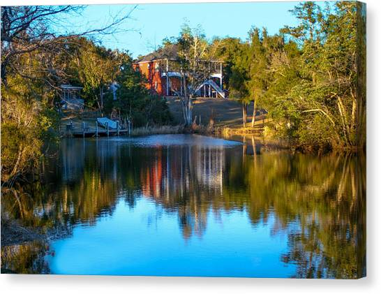 Black Water River In Blue Canvas Print