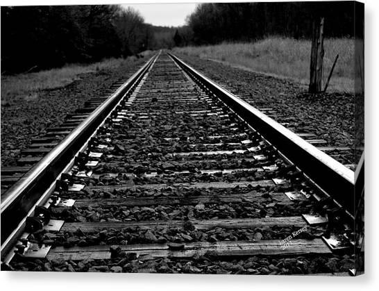 Black White Tracks Canvas Print