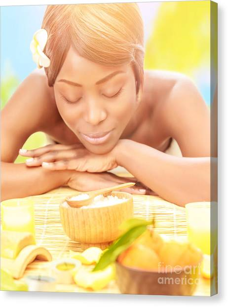 African Resort Canvas Print - Black Woman On Spa Resort by Anna Om