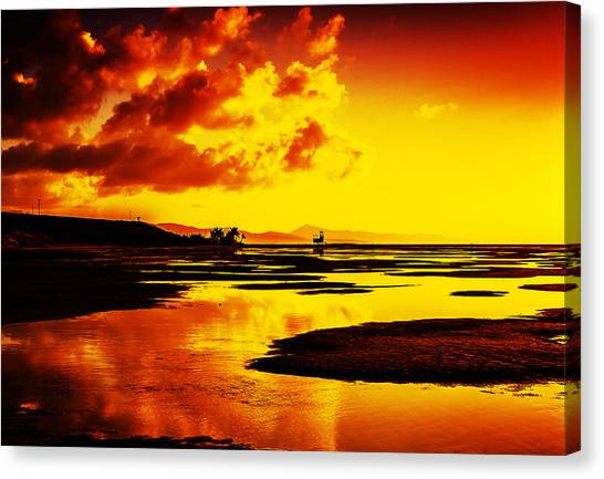 Black Yellow And Orange Sunrise Abstract Canvas Print