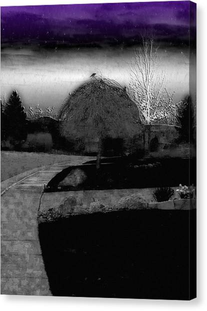 Blackbird In Tree Under Purple Night Sky Canvas Print