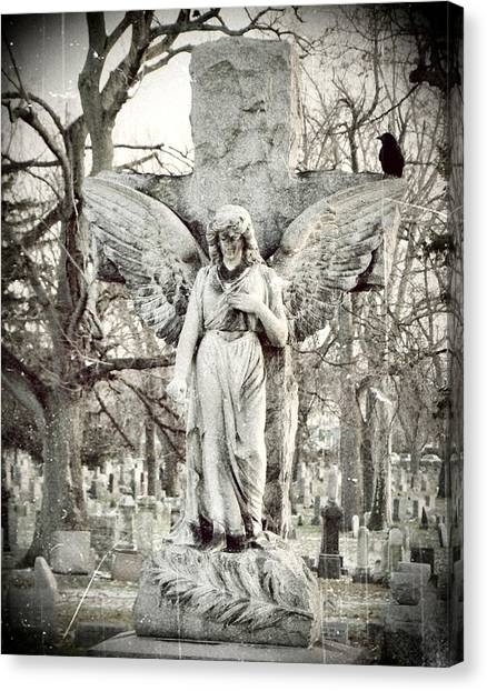 Ravens In Graveyard Canvas Print - Blackbird On Angel Cross by Gothicrow Images
