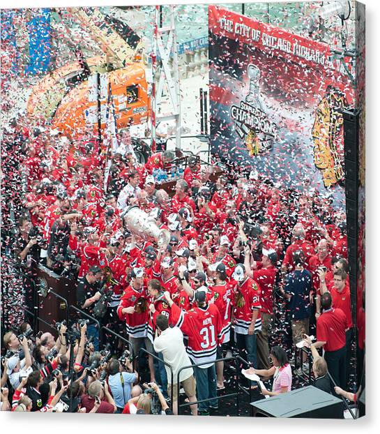 Patrick Kane Canvas Print - Blackhawks Celebration Stage by Curtiss Messer