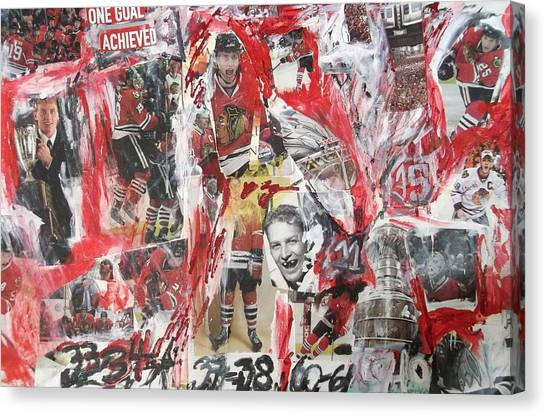 Patrick Kane Canvas Print - Blackhawks Collage by John Sabey Jr