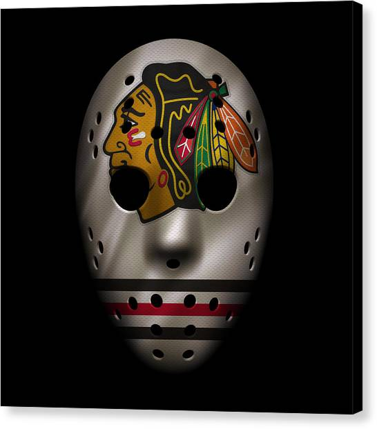 Hockey Players Canvas Print - Blackhawks Jersey Mask by Joe Hamilton