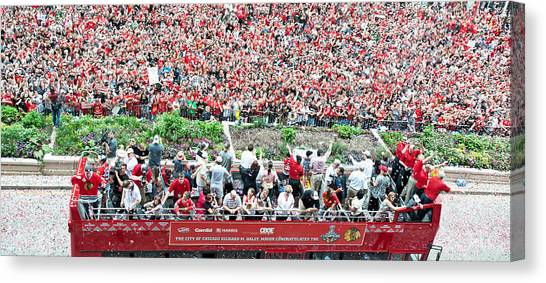Patrick Kane Canvas Print - Blackhawks Parade Bus Stanley Cup by Curtiss Messer