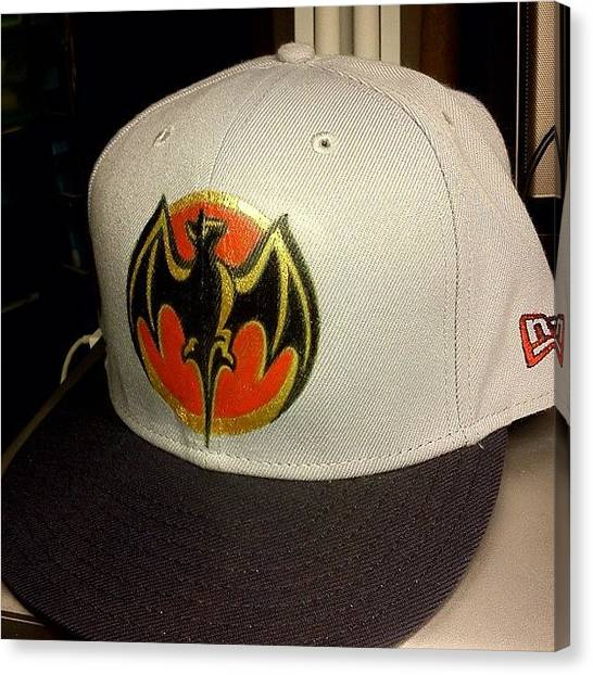 Bats Canvas Print - Blank #newera Hat I Painted For Shits by Kyle StCroix