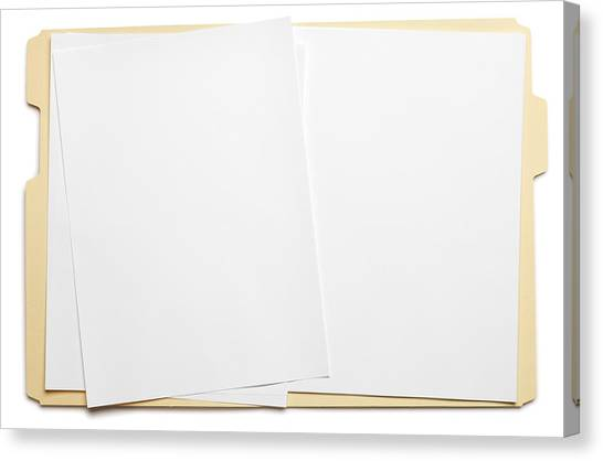 Blank Paper In An Open File Folder On White Background Canvas Print by Dny59