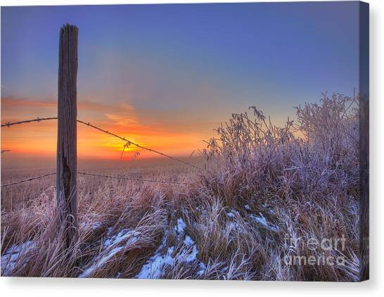Prairie Sunrises Canvas Print - Blazing Autumn Morning by Dan Jurak