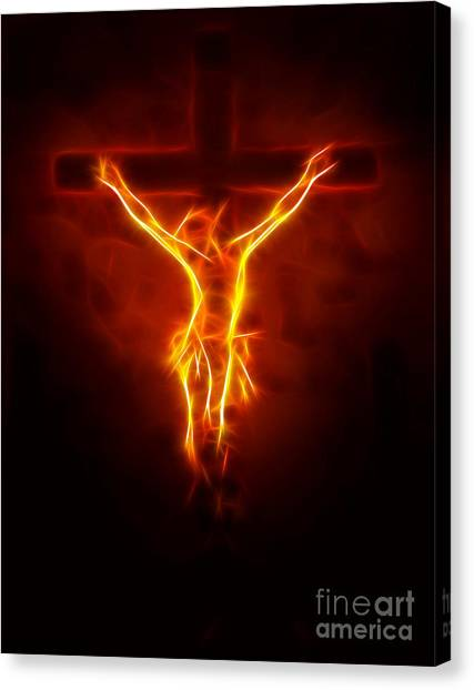 Apostles Canvas Print - Blazing Jesus Crucifixion by Pamela Johnson