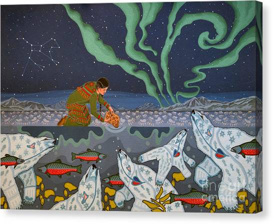 Canvas Print featuring the painting Blessing Of The Polar Bears by Chholing Taha