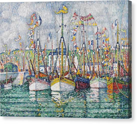 Pointillism Canvas Print - Blessing Of The Tuna Fleet At Groix by Paul Signac