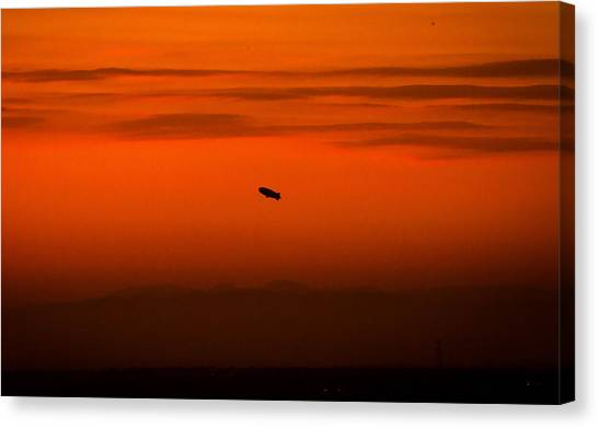 Blimp At Dusk Canvas Print