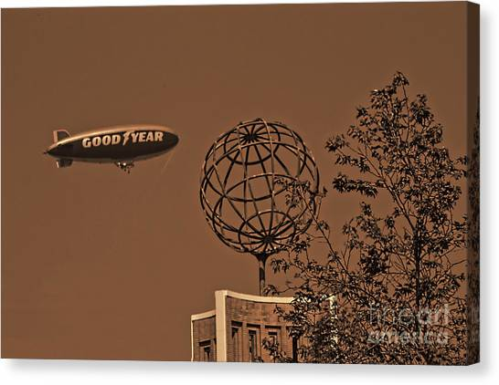 University Of Southern California Usc Canvas Print - Blimp Over Usc by Tommy Anderson