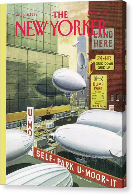 Blimp Park Canvas Print by Bruce McCall