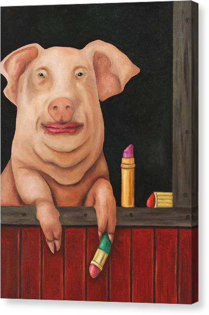 Pig Farms Canvas Print - Blind Date by Leah Saulnier The Painting Maniac