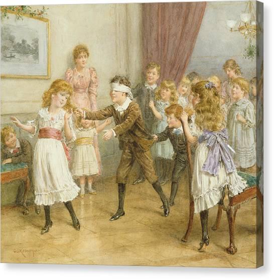 Dizzy Canvas Print - Blind Mans Buff by George Goodwin Kilburne