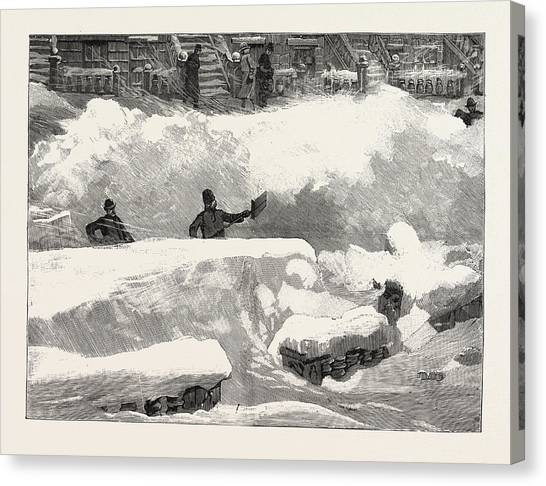 Aspect Canvas Print - Blizzard In New York, Aspect Of An Up Town Street The Day by American School
