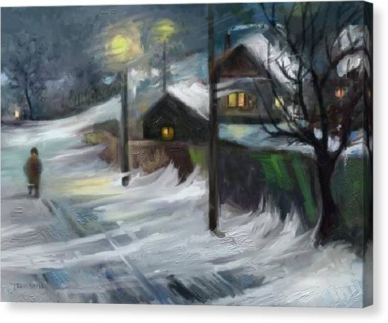 Blizzard Night Canvas Print by Tancau Emanuel