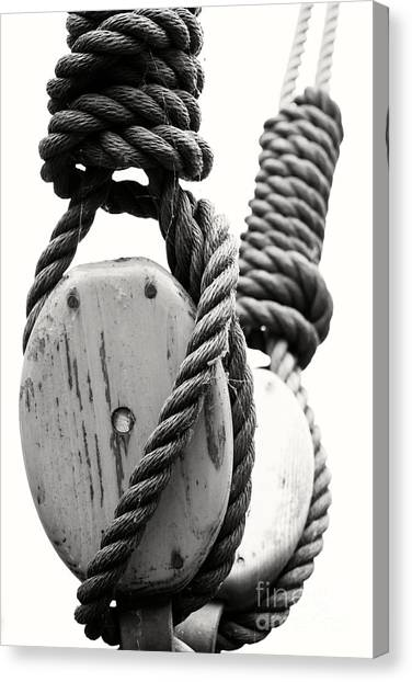 Block And Tackle Of Old Sailing Ship Canvas Print