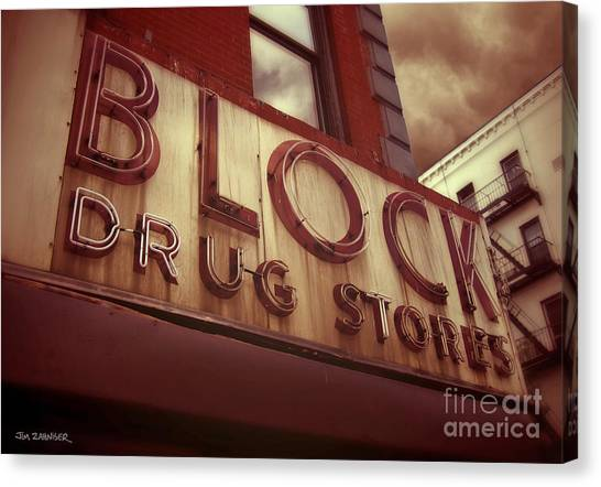 Block Canvas Print - Block Drug Store - New York by Jim Zahniser