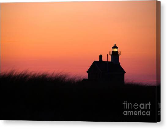 Seagrass Canvas Print - Block Island North Lighthouse by Diane Diederich