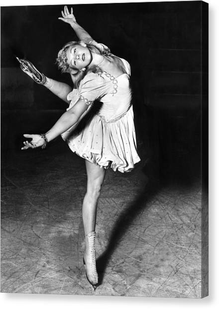 Figure Skating Canvas Print - Blond Ballerina Of The Rinks by Underwood Archives