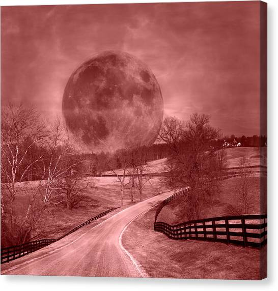 Blood Moon Canvas Print - Blood Moon One Of Two by Betsy Knapp