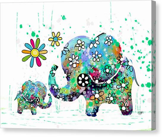 New Baby Canvas Print - Blooming Elephants by Karin Taylor