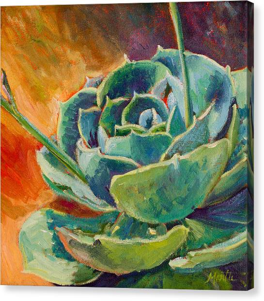 Cacti Canvas Print - Blooming Hen by Athena Mantle Owen