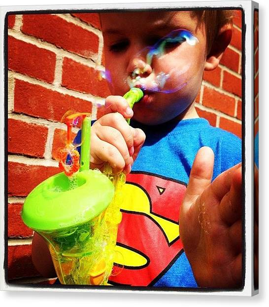 Saxophones Canvas Print - Blowing Bubbles #ashton #nephew by Samantha Charity Hall