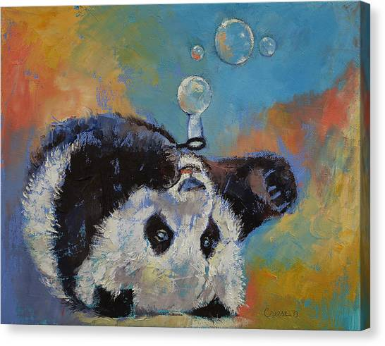 Panda Canvas Print - Blowing Bubbles by Michael Creese