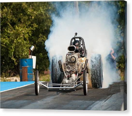 Blown Front Engine Dragster Burnout Canvas Print