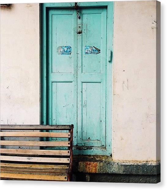 Mac Canvas Print - Blue & A Bench by Ramen Mac