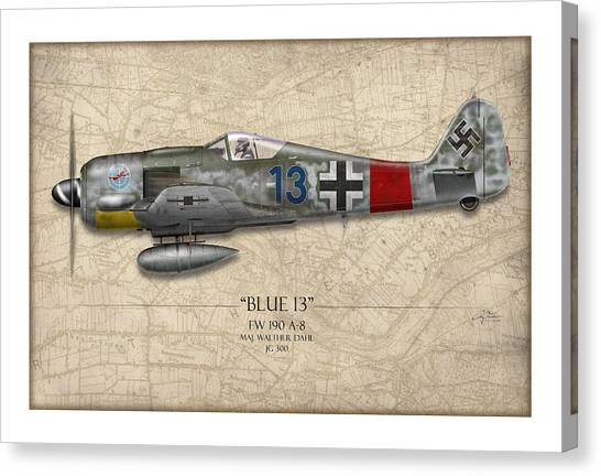 Luftwaffe Canvas Print - Blue 13 Focke-wulf Fw 190 - Map Background by Craig Tinder