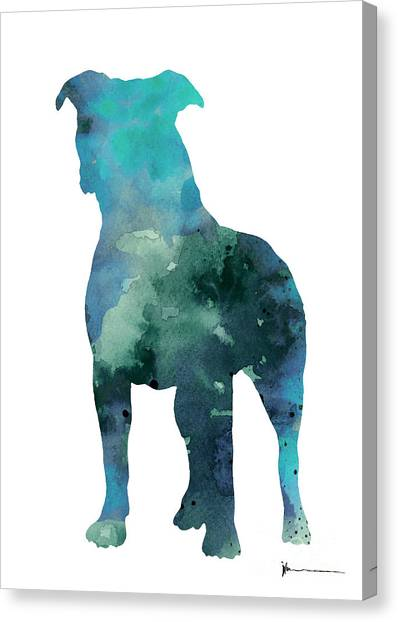 Pitbulls Canvas Print - Blue Abstract Pitbull Silhouette by Joanna Szmerdt