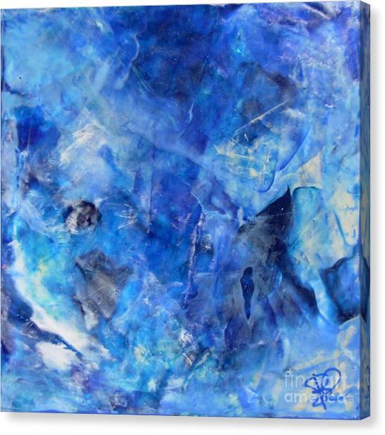 Blue Abstract Square Painting Blue Shades Modern Wall Art By Chakramoon Canvas Print by Belinda Capol