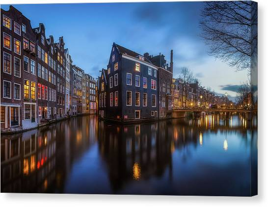 Holland Canvas Print - Blue Amsterdam by Clara Gamito