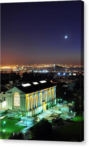 Blue And Gold Library And San Francisco Canvas Print