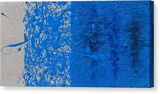 Lyrical Abstraction Canvas Print - Blue And Linen by Sora Neva