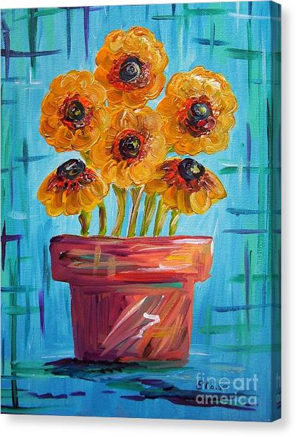 Boise State University Canvas Print - Blue And Orange - Flowers In Football Colors by Eloise Schneider