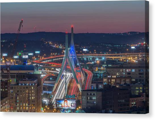Blue And Red Zakim Canvas Print